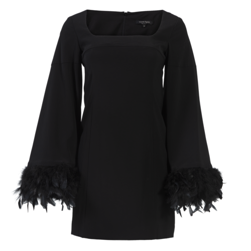 Nanette Lepore Black Dress with Feathers