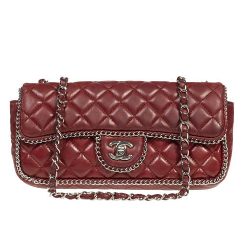 CHANEL Chanel Red Quilted Leather Bag
