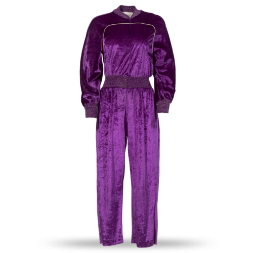 Oscar de la Renta Vintage 1980s Oscar de la Renta Purple Velour Jumpsuit