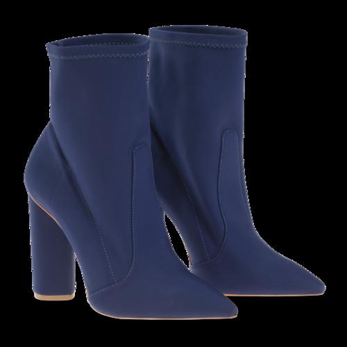 Schutz Blue Heeled Sock-Booties