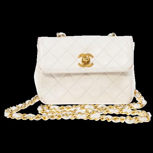 CHANEL Vintage Chanel White Mini Flap Bag