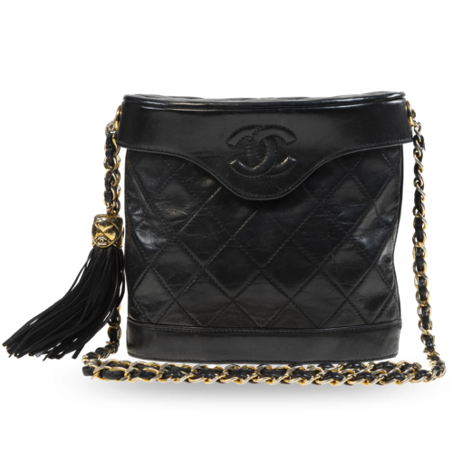 CHANEL Chanel Vintage Black Leather Binocular Bag