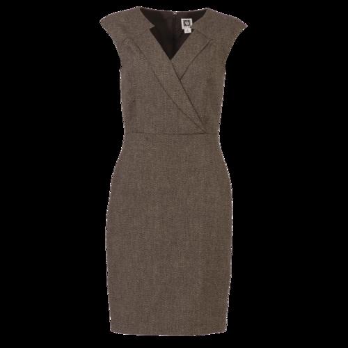 Anne Klein Brown Twill Surplice Midi Dress