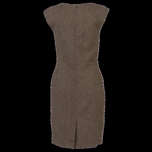Brown Twill Surplice Midi Dress