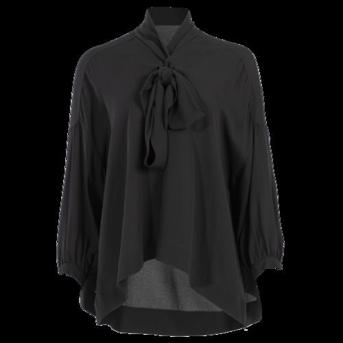 Balenciaga Black Long Sleeved Pussy Bow Top