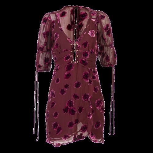 For Love & Lemons Burgundy Roses Dress