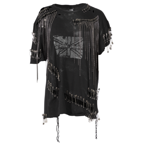 h.NAOTO h.Naoto Black T-Shirt with Safety Pins and Chains