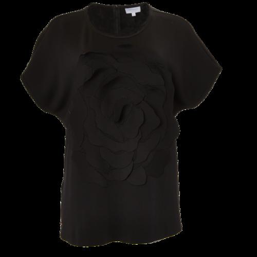 Escada ESCADA Black Short Sleeve with Flower Applique