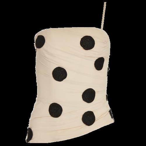 JACQUEMUS Polka Dot One-Shoulder Top