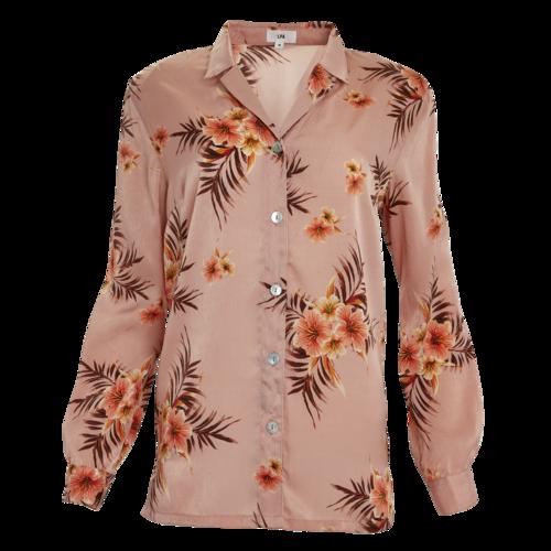 LPA Satin Floral Print Button Down Blouse