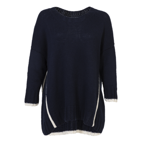 Hania New York HANIA by Anya Cole Navy Blue Cashmere Knitted Sweater