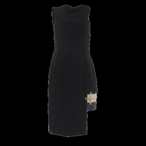 Versace Versus Versace Black Sleeveless Dress with Acrylic Ring Detail