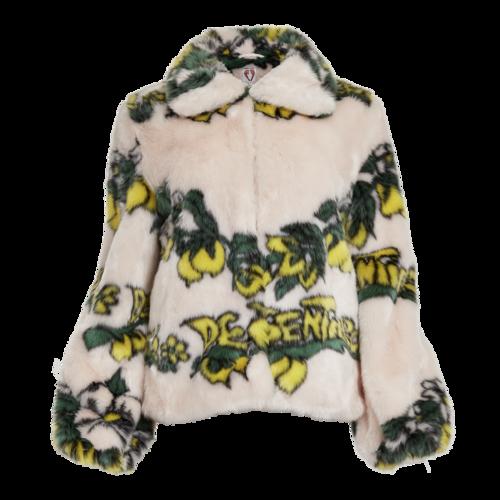 Shrimps Lemon Print Faux Fur Coat