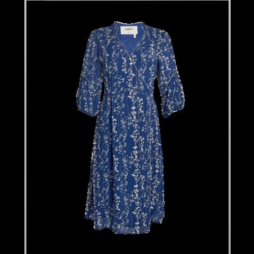 ba&sh Blue Wrap Dress with Metallic Thread
