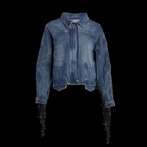 True Religion Cropped Denim Dolman-Sleeve Fringe Jacket