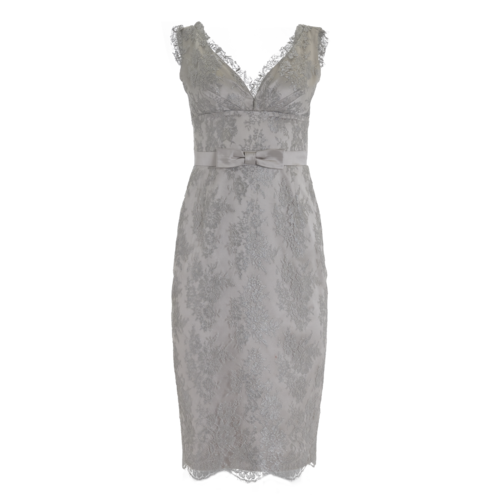Escada Silver Bow Accented Lace Cocktail Dress