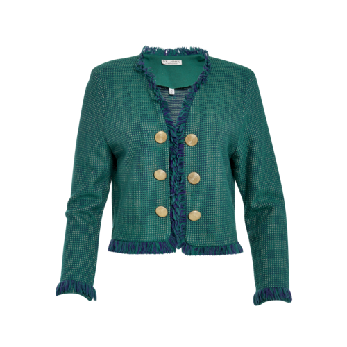 St. John Green Tweed Blazer with Gold Buttons