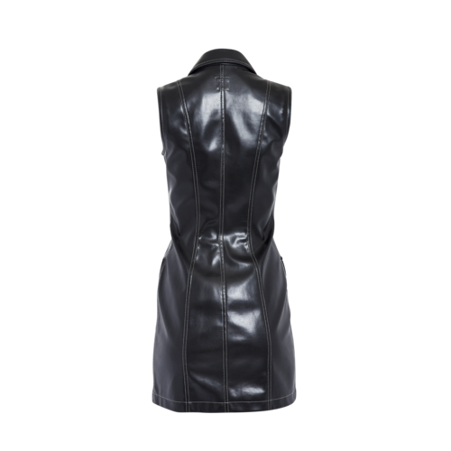 Black Leather Sleeveless Dress