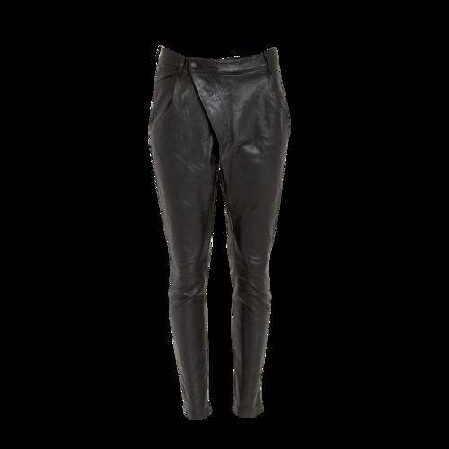 R13 Asymmetrical Black Leather Pants