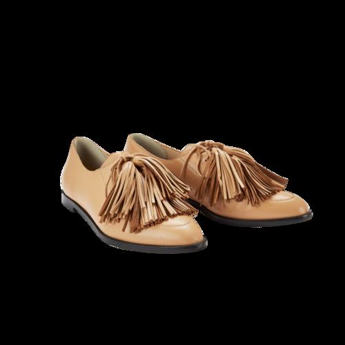 Loeffler Randall Tan Leather Flats with Tassels