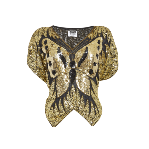 Custom Made Custom-Made Black & Gold Embellished Butterfly Top