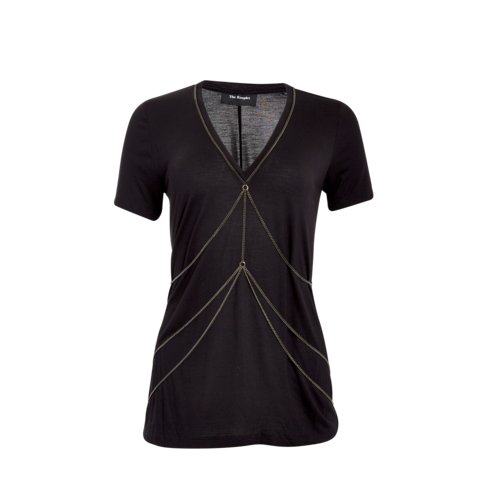 The Kooples Black T-Shirt with Chain Detail