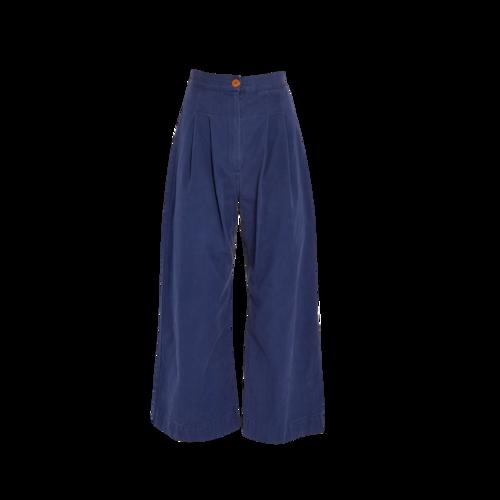 Ilana Kohn Blue Wide-Leg Pants with Darts