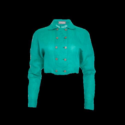 Versace Gianni Versace Green Cropped Linen Jacket