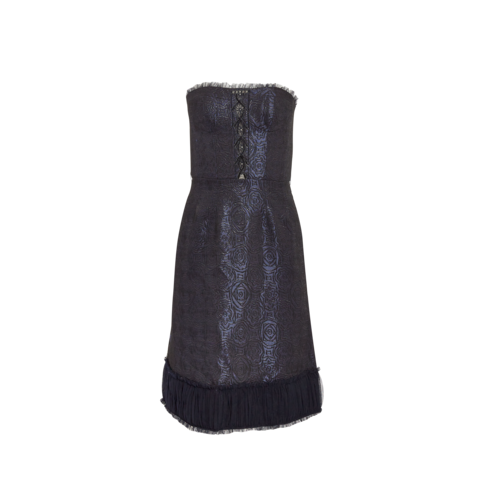 Badgley Mischka Strapless Jacquard Print Dress