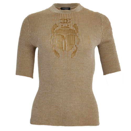 CHANEL Chanel Gold Beetle Sweater