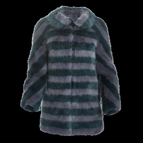 Shrimps Striped Faux Fur Coat