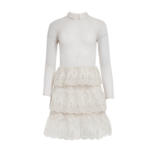 Self-Portrait White Lace Tiered Dress