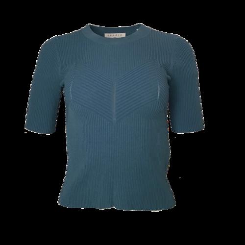 Sandro Paris Aglaya Blue Ribbed Knit Top