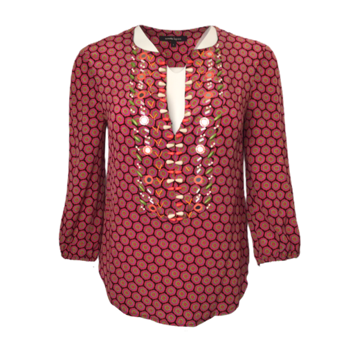Nanette Lepore Print Top w/ Bead Details