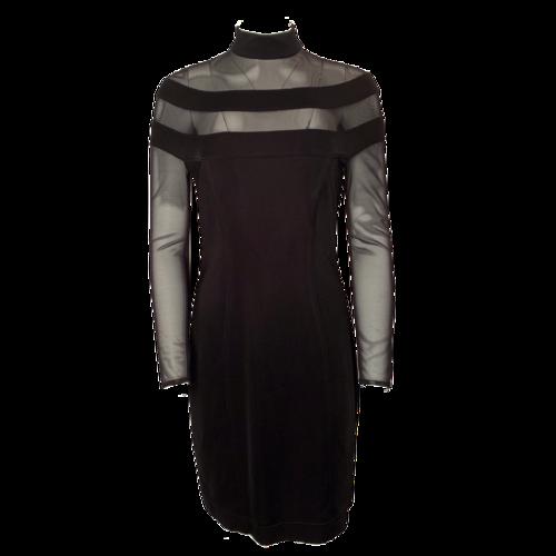 Tadashi Shoji Black Long Sleeve Mesh Dress
