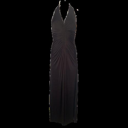 Jill Stuart Black Ruched Jersey Halter Gown