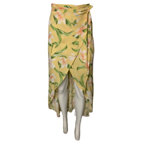 Reformation Yellow Floral Wrap Skirt