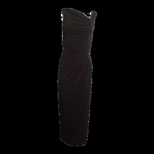 Calvin Klein Black Asymmetrical Jersey Gown
