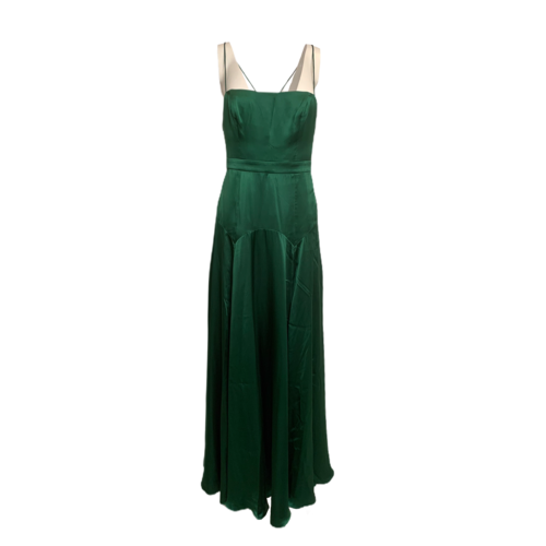 Fame and Partners Green Satin Strappy Draped Maxi Dress