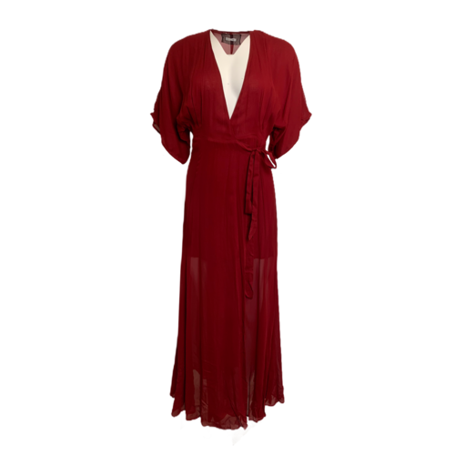 Reformation Winslow Red Wrap Maxi Dress Gown