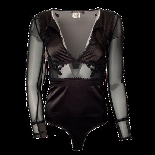 For Love & Lemons Black Mesh/Embroidery Bodysuit