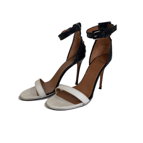 Givenchy Black and White Ankle Strap Heels w/ Back Stitching