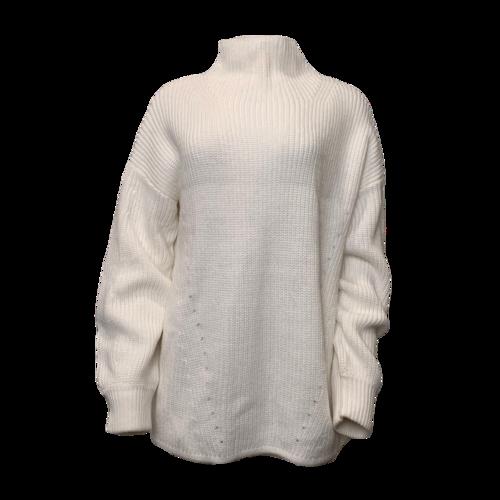 Halston Cream Turtleneck Chunky Sweater