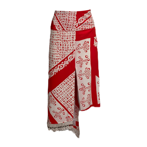 Altuzarra Red & White Print Skirt w/ Tassels