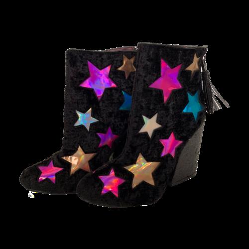 Vintage Velvet Booties w/ Stars and Sequined Heel