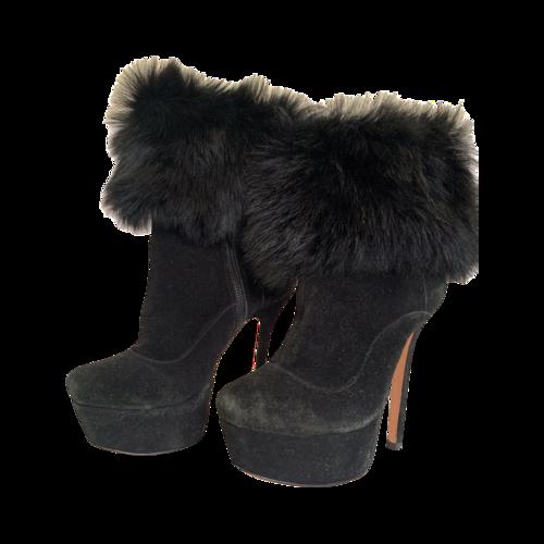 Alice + Olivia Black Suede & Lamb Fur Mid Calf Boots