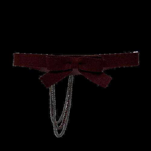 CHANEL Chanel Burgundy Bow Belt