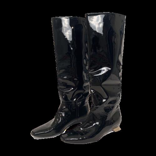 Attilio Giusti Leombruni AGL Black Patent Leather Knee-High Boots