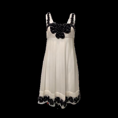 Sue Wong White Babydoll Dress w/ Polka Dot Rosette Details