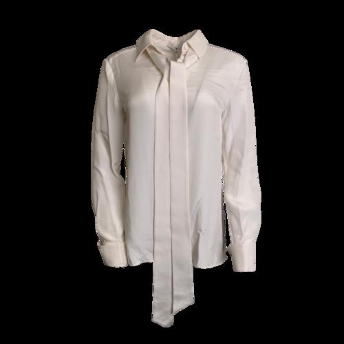 Tibi White Button Down Shirt with Bow